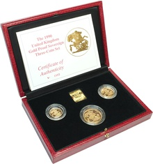 1990 Gold Proof Sovereign Three Coin Set Boxed