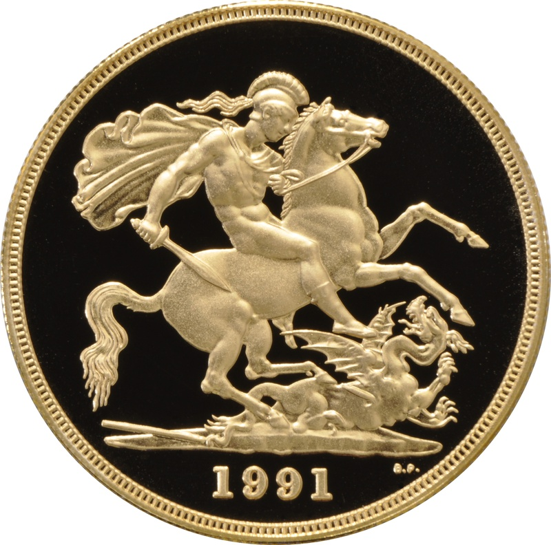 1991 - Gold £5 Proof Coin (Quintuple Sovereign)