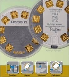 Heraeus MultiDisc 10 x 1 Gram Gold Bar