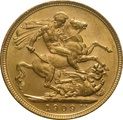 1909 Gold Sovereign - King Edward VII - M
