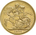1876 Gold Sovereign - Victoria Young Head - London