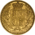 1861 Gold Sovereign - Victoria Young Head Shield Back - London