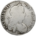 1667 Charles II Silver Milled Crown AN REG sloping colons