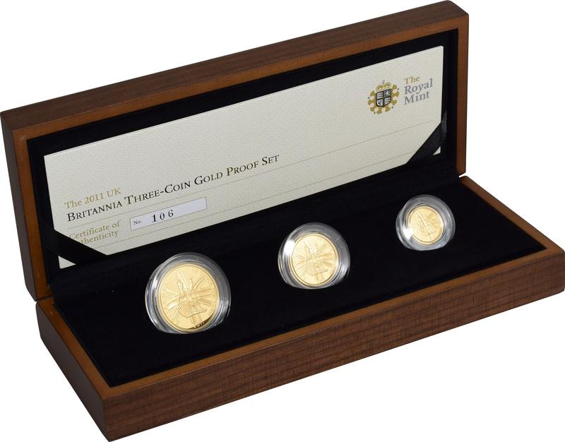 2011 Proof Britannia Gold 3-Coin Set Boxed