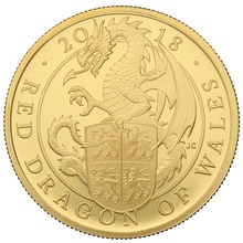 2018 1oz Gold Proof Red Dragon - Queen's Beast