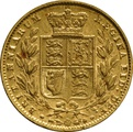 1859 Gold Sovereign - Victoria Young Head Shield Back - London