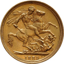 1889 Gold Sovereign - Victoria Jubilee Head - S