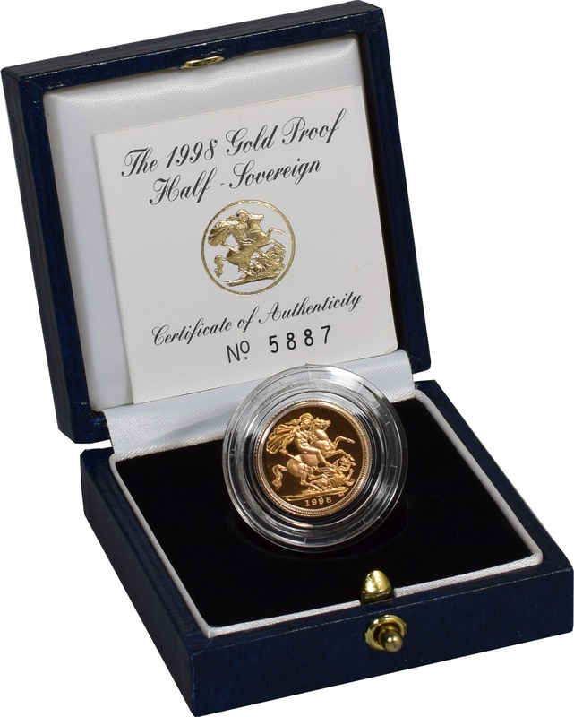 Gold Proof 1998 Half Sovereign Boxed