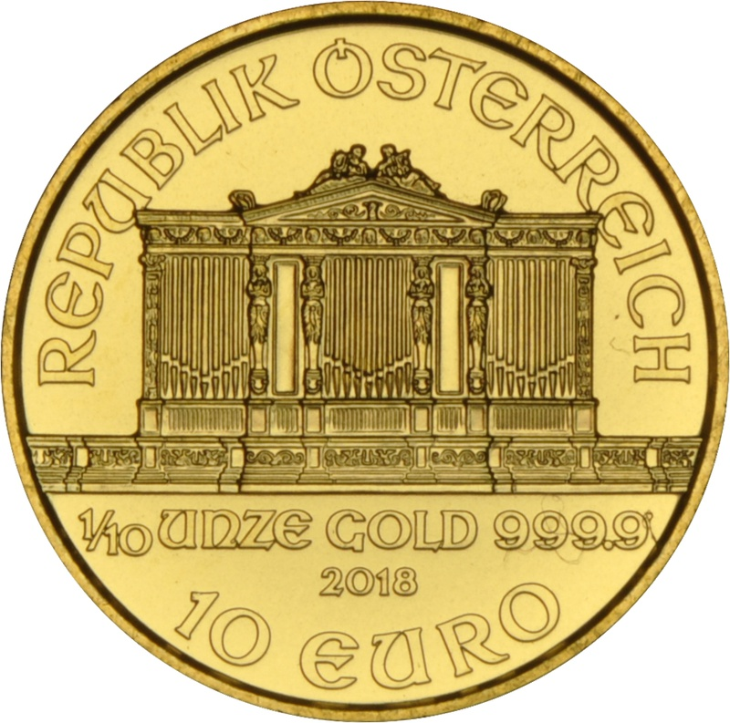 2018 Tenth Ounce Austrian Gold Philharmonic Coin