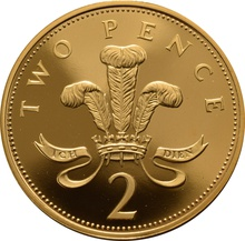 2002 Gold Proof 2p Two Pence Piece Prince of Wales Feathers