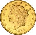 1892 $20 Double Eagle Liberty Head Gold Coin, San Francisco