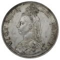 1887 Queen Victoria Silver Milled Florin - About Uncirculated