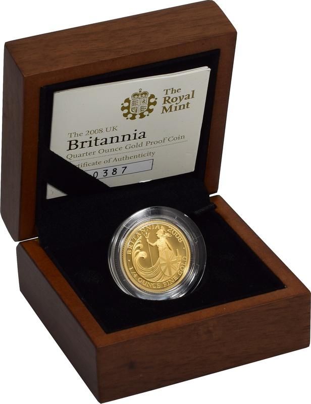 2008 Britannia Quarter Ounce Gold Proof Coin Boxed