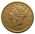 1907 $20 Double Eagle Liberty Head Gold Coin, Philadelphia