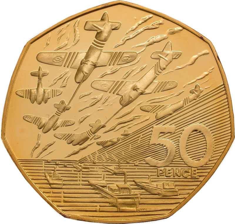 Gold Fifty Pence Piece - larger size