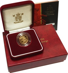Gold Proof 2001 Half-Sovereign Boxed