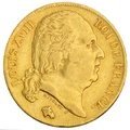 1820 20 French Francs - Louis XVIII Bare Head - A