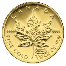 1999 Tenth Ounce Gold Canadian Maple