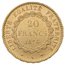 1876 20 French Francs - Guardian Angel - A