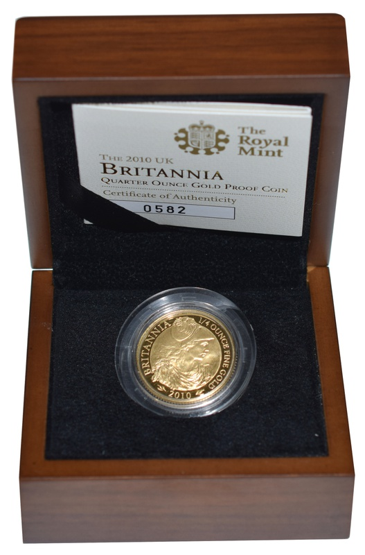 2010 Britannia Quarter Ounce Gold Proof Coin Boxed