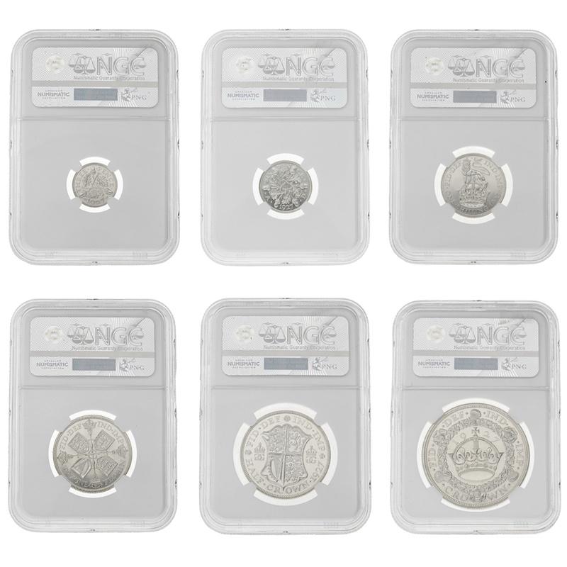 1927 George V Silver Proof Six Coin Set Slabbed