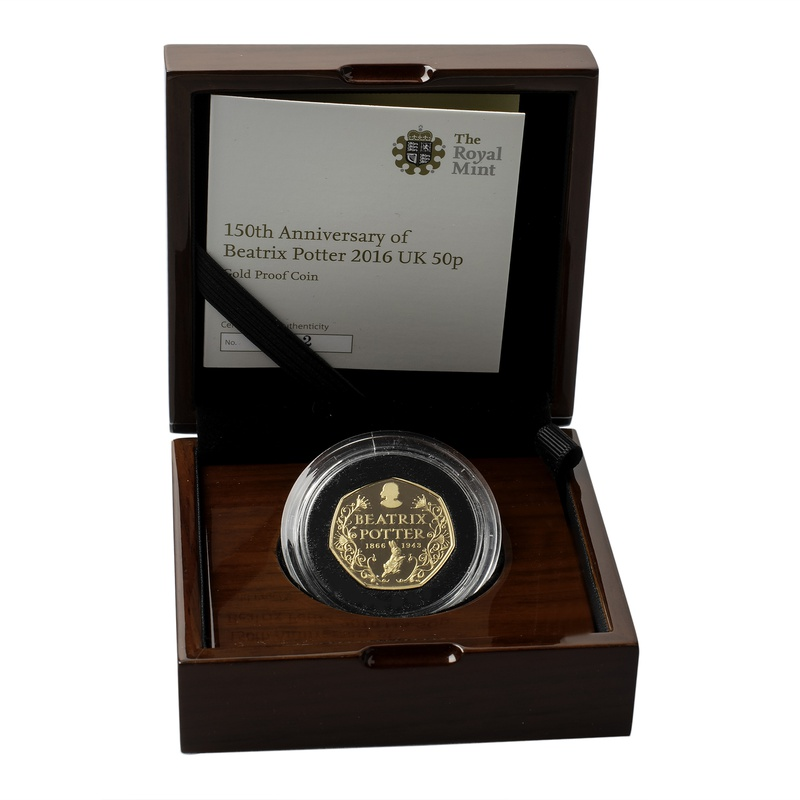 Gold Proof 2016 Fifty Pence Beatrix Potter Boxed