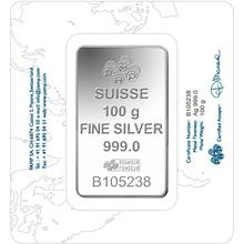 PAMP 100 Gram Silver Bar Minted