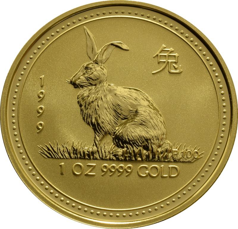 1999 1oz Gold Australian Lunar Year of the Rabbit