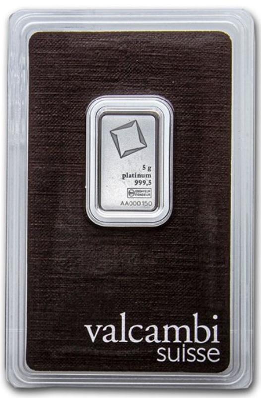 Valcambi 5 Gram Platinum Bar Minted