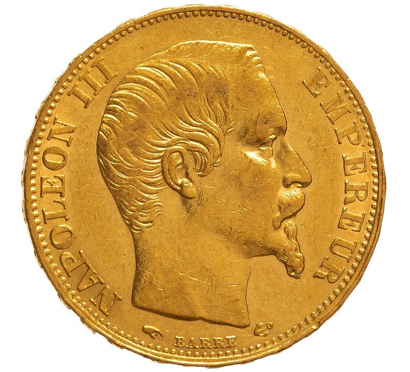 1856 20 French Francs - Napoleon III Bare Head - A