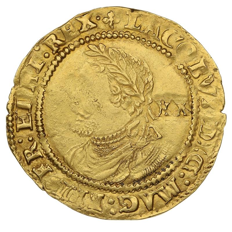 """1613 James I Gold Laurel mm """"Trefoil"""""""