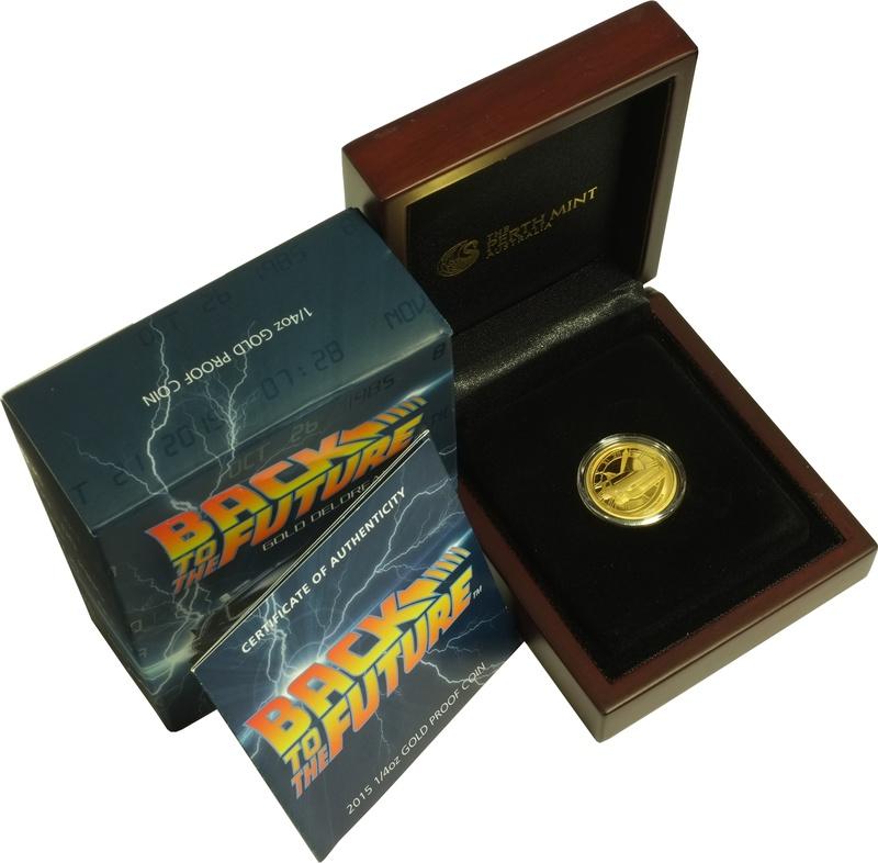 Perth Mint 2015 Back to the Future Delorean 1/4oz Gold Proof Coin Boxed