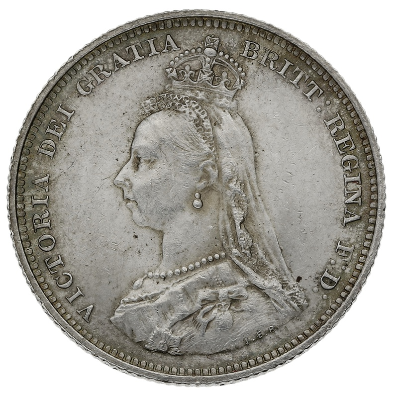 1887 Queen Victoria Silver Milled Shilling - About Uncirculated