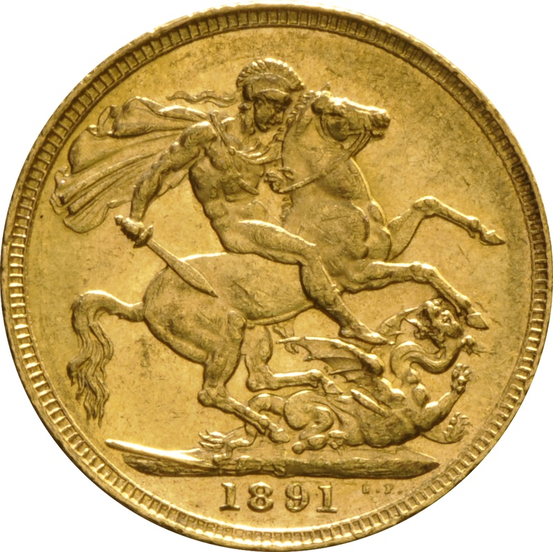 1891 Gold Sovereign - Victoria Jubilee Head - S