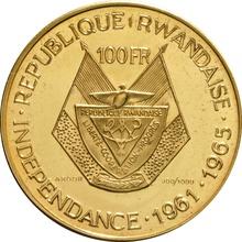 Rwanda 100 Francs 1965 President Gregoire Kayibanda