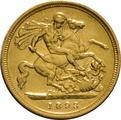 1893 Gold Half Sovereign - Victoria Old Head - London