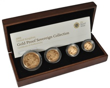 2008 Gold Proof Sovereign Four Coin Set Boxed