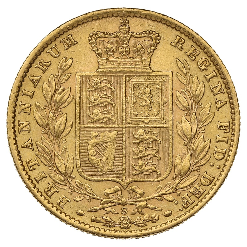 1871 Gold Sovereign - Victoria Young Head - Shield Back- S