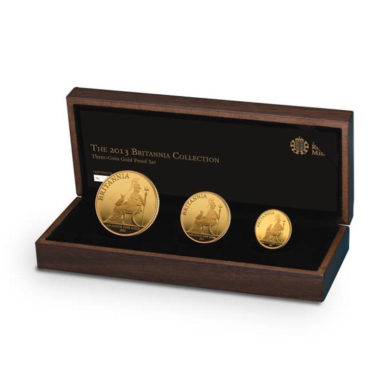 2013 Proof Britannia Gold 3-Coin Set Boxed