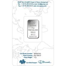 PAMP 5 Gram Silver Bar Minted