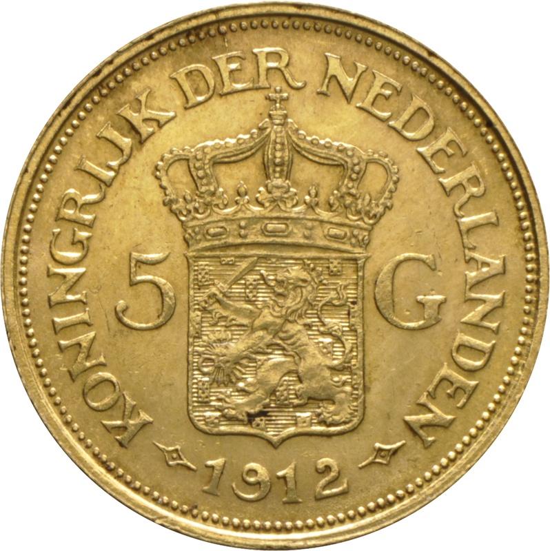 5 Guilders Netherlands Wilhelmina Mature