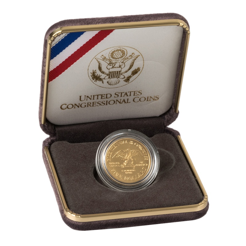 1989 Proof Bicentennial of the Congress - American Gold Commemorative $5 Boxed