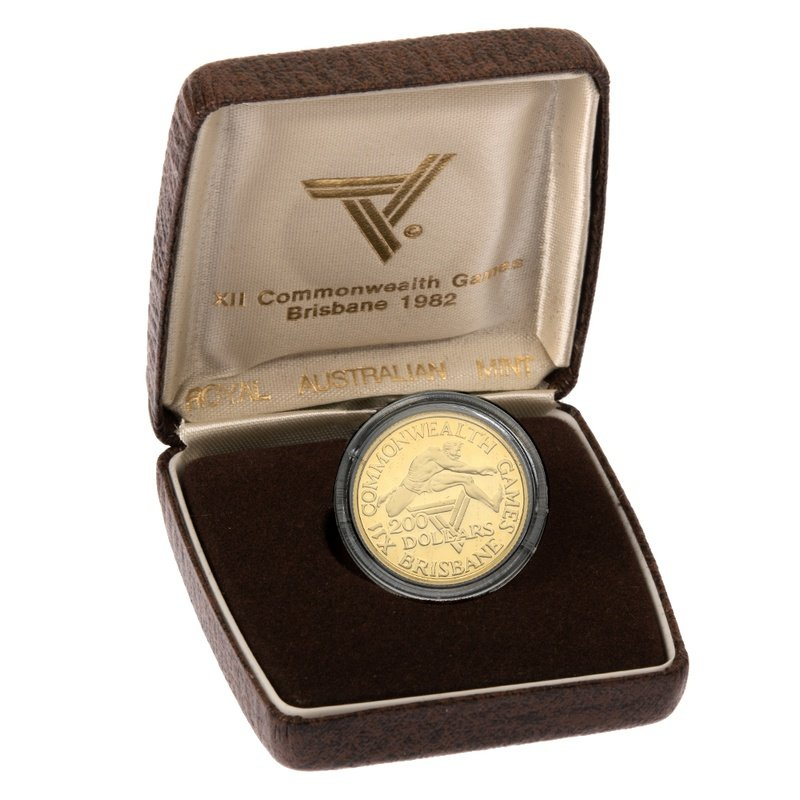 1982 $200 Australian Gold Proof Coin Commonwealth Games Brisbane Boxed