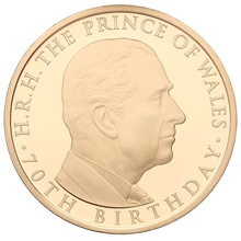 2018 - Gold £5 Proof Crown, Prince of Wales 70th Birthday Boxed