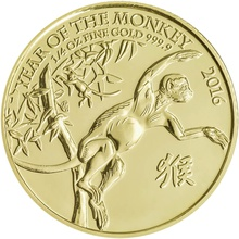 2016 Royal Mint 1/4 Oz Year of the Monkey Gold Coin
