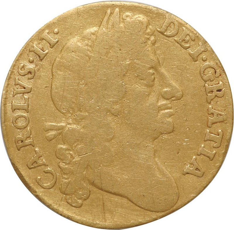 1675 Charles II Half Guinea - Fine