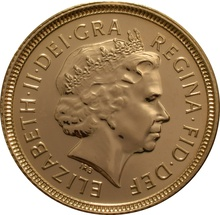 2001 Gold Half Sovereign Elizabeth II Fourth Head