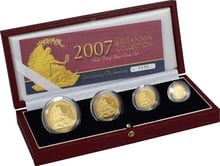 2007 Proof Britannia Gold 4-Coin Set Boxed