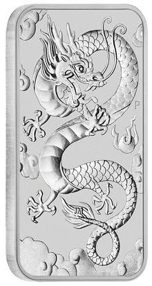 2019 1oz Dragon Rectangular Silver Bar