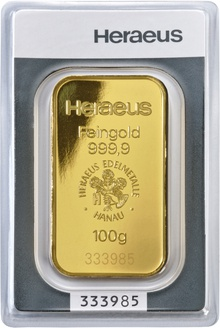 Heraeus 100 Gram Gold Bullion Bar